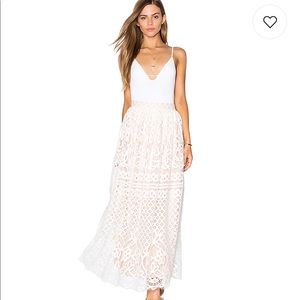 NWT Lucy Paris White Lace Maxi Skirt